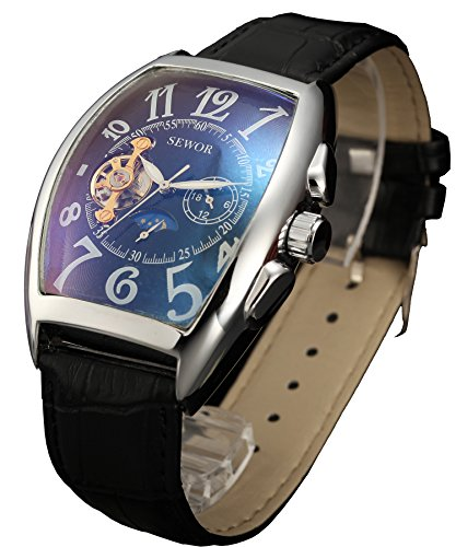 SEWOR Mens Automatic Business Dress Tonneau Moon Phase Wrist Watch Mechanical Self Wind (Black)