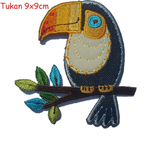 (2 Embroidered Appliqus iron on Patches Hedgehog 9x7.5 and Tucan 9x9cmcm TrickyBoo Design)