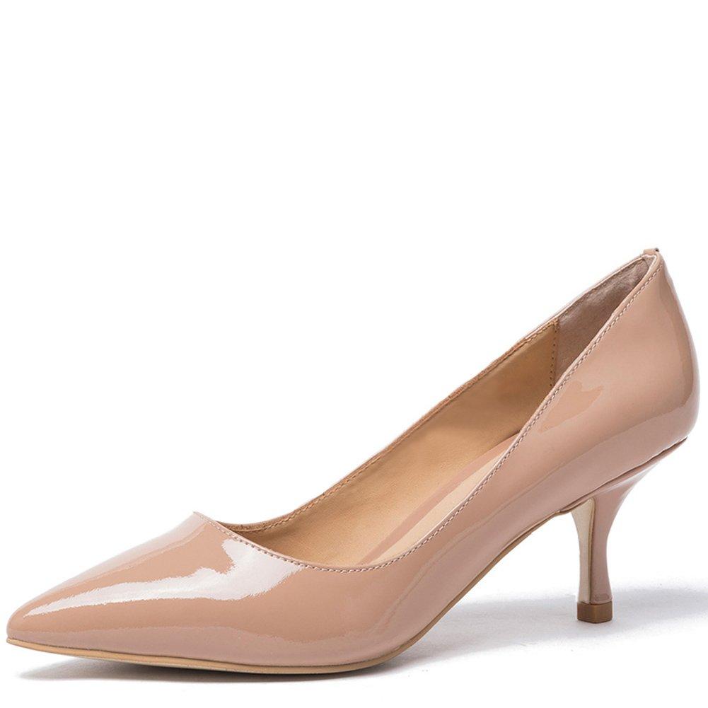 Mujer Zapatos De Kitten Aguja Tacón basicos Cuero Punta Bajo Medio Pumps Shoes Para Fiesta Oficina Boda 36 EU|Patente Nude