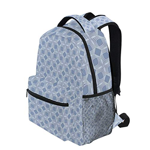 - KVMV Diagonal Squares Pattern Geometric Interwoven Shapes Ornamental Lace Lightweight School Backpack Students College Bag Travel Hiking Camping Bags