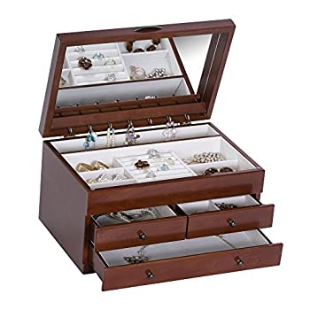 Mele & Co. Fairhaven Wooden Jewelry Box with Floral Marquetry Motif (Walnut Finish)