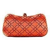 DMIX Women Clutch Purse Hard Case Shiny Evening Bag Glitter Handbag with Chain Strap Orange