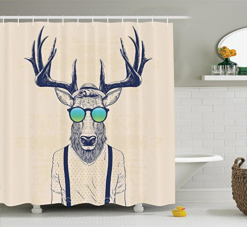 Antlers Decor Shower Curtain Illustration of Deer Dressed Up Like Cool Hipster Fashion Creative Fun Animal Art Print, Polyester Fabric Bathroom Shower Curtain Set with Hooks 60W X 72L Inches