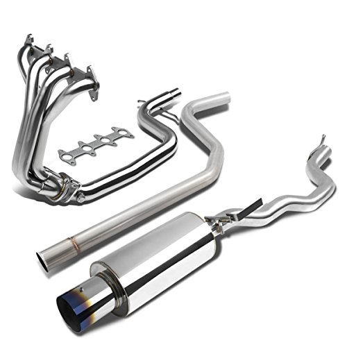 For Cavalier/Sunfire 2.2L L61 Stainless Steel Polished Header Manifold+4 inches Burnt Tip Catback Exhaust System Cavalier Cat Back Exhaust