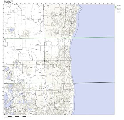 Amazon Com Kenosha Wi Zip Code Map Laminated Home Kitchen