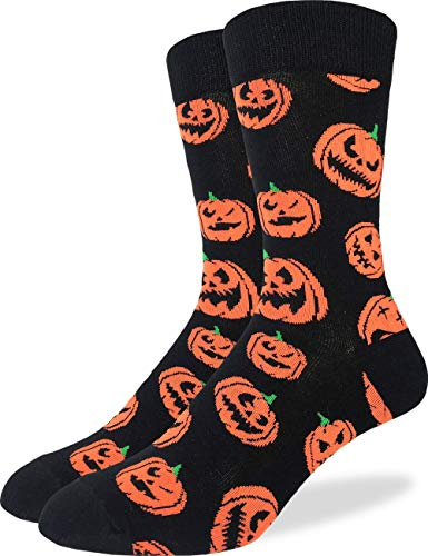 Good Luck Sock Men's Halloween Pumpkins Socks - Black, Adult Shoe Size 7-12