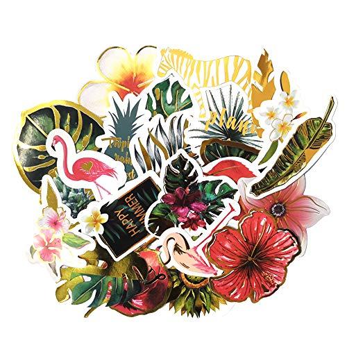 Cute Tropical Rain Forest Stickers, Green Plant, Cactus, Flower, Succulent and Flamingo Decorative Sticker for Scrapbook, Planner, Bullet Journals, Laptop, Kids DIY Crafts (24 Pcs)