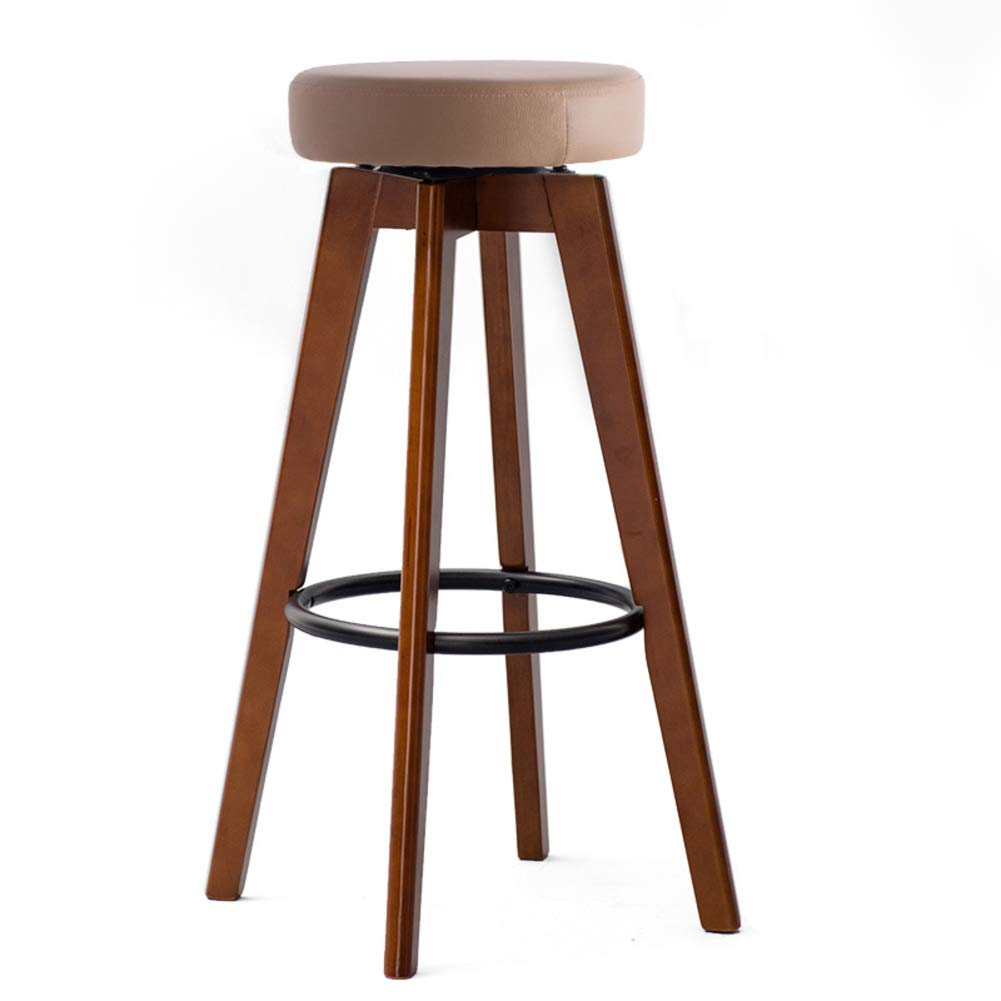 Brown B Solid Wood Barstools, 360 Degree Swivel Handmade Pub Chair Filled Cotton Counter Bar Stool Chair for Bar Home-Beige