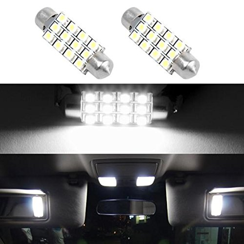 Partsam White Car LED Lamps 42mm festoon 12SMD Interior Dome Map Lights Bulbs 12V 561 562 578, Pack of 2pcs