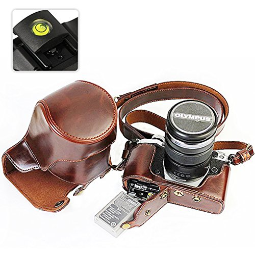 First2savvv XJD-EM5II-HH10 dark brown PU leather digital camera case bag cover with should strap for Olympus OM-D E-M5 Mark II. EM5 Mark 2 with 12-40mm and 40-150mm Lens + Spirit Level