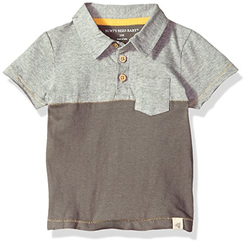 Burt's Bees Baby Baby Boy's T-Shirt, Short Sleeve V-Neck and Crewneck Tees, 100% Organic Cotton, Slate Polo, 3-6 Months