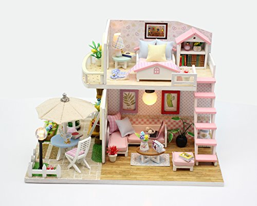 Flever Dollhouse Miniature DIY Music House Kit Creative Room With Furniture for Romantic Valentine's Gift (Pink Lure)
