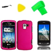 Pink Phone Case Cover Cell Phone Accessory + Yellow Pry Tool + Screen Protector + Stylus Pen + EXTREME Band for Straight Talk LG Optimus Zip L75C / Optimus Q L55C