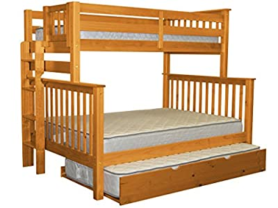 Bedz King Mission Style Bunk Bed Twin over Full with End Ladder and a Twin Trundle, Honey