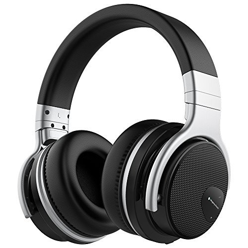 Mighty Rock E7 Active Noise Cancelling Headphones Bluetooth Headphones Over Ear with Microphone Hi-Fi Deep Bass Comfortable Protein Earpads Wireless Headphones (Black) by Mighty Rock