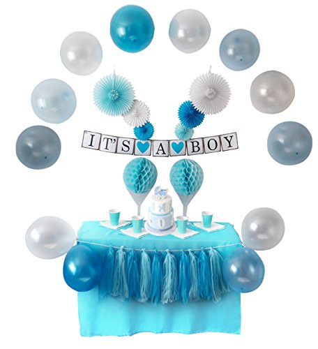 African American Baby Shower Favors (Baby Shower Decorations for Boy, It's A Boy | Banner, Balloons, Tissue Paper, Fans, Honeycombs, Garland, Blue, Hanging, Photo Backdrop, Party Supplies, Indoor/Outdoor. By Kinyato)