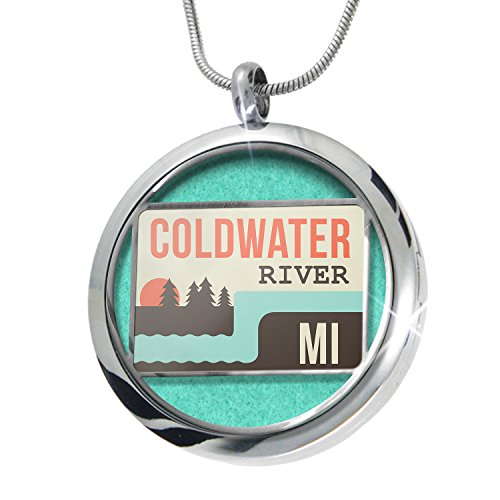 NEONBLOND USA Rivers Coldwater River - Michigan Aromatherapy Essential Oil Diffuser Necklace Locket Pendant Jewelry Set - Coldwater Therapy