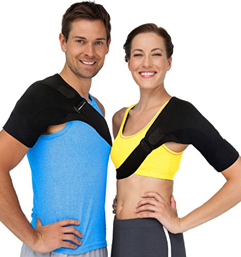 Shoulder Brace Rotator Cuff Support – Reduce Pain with Compression to Help Stiff, Injured AC Joints, Labrum Tears, Muscle Strains or Sprains, Tendonitis and Even Dislocated Shoulders (Fits Most) (Cuff Shoulder Rotator)
