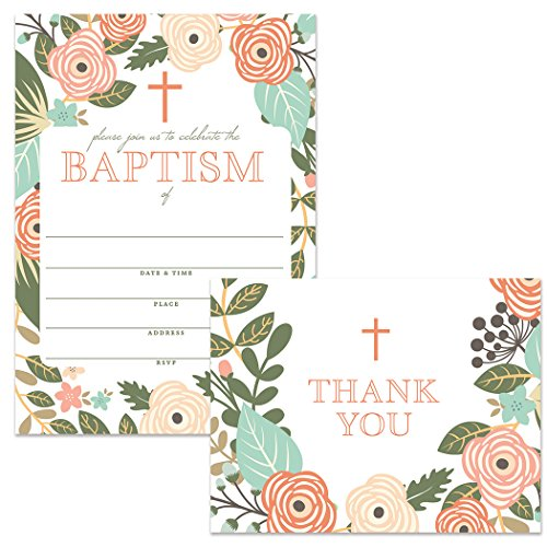 Baptism Invitations (25) & Matched Thank You Cards (25) Set with Envelopes, Whimsical Flowers Design 5 x 7