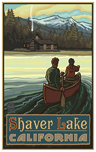 Shaver Lake California Lake Canoers Mountains Giclee Travel Art Poster by Artist Paul A. Lanquist (12 x 18 inch) Art Print for Bedroom, Living Room, Kitchen, Family and Dorm Room Wall Décor