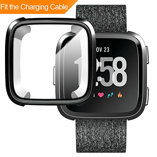 Price comparison product image [New Version] Case for Fitbit Versa,Soft TPU Protective Full Cover Shell Bumper Case Protector for Fitbit Versa Smartwatch Can be Charged with Case On - Black