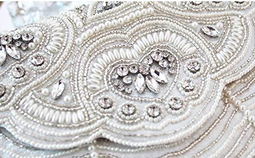 Parti Blanc Main Jours Sangle Argent d'autres avec 10x7x0inch Sacs Sacs Broderie Blanc chaîne Argent pour Embrayage de Diamant fériés Et de Bal Femmes de 25x17x1cm ASIpw7q