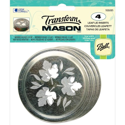 Loew-Cornell 1026305 Transform Mason Ball Lid Inserts, Leaf, 4-Pack