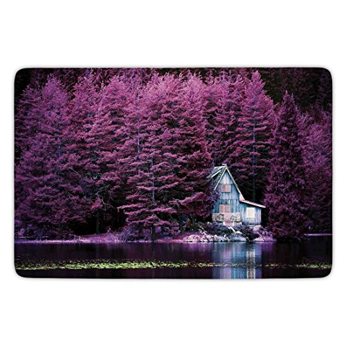 Bathroom Bath Rug Kitchen Floor Mat Carpet,Lavender,Purple Trees by a Lake with Blue Wooden Rustic Lakehouse Lodge Romantic Spring Nature,Purple,Flannel Microfiber Non-slip Soft Absorbent