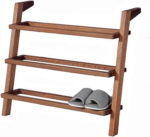 Estantes de zapatos de escalera estilo escalera de madera de 4 niveles Estantes de exhibición de