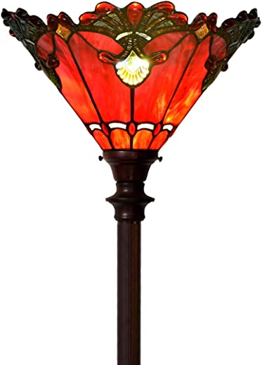 Bieye L10682 Baroque 71 inch Tiffany Style Stained Glass Torchiere Floor Lamp