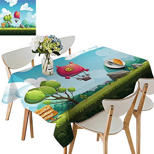 UHOO2018 Polyester Fabric Tablecloth Square/Rectangle backgroun Blimp Above The Hills for Design Graphics Print Web for Picnic,Outdoor or Indoor,50 x 72inch -