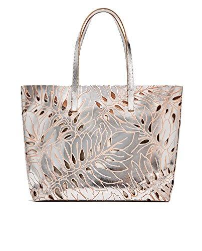 Zara Femme Shopper en cuir ajouré argenté 4038/204