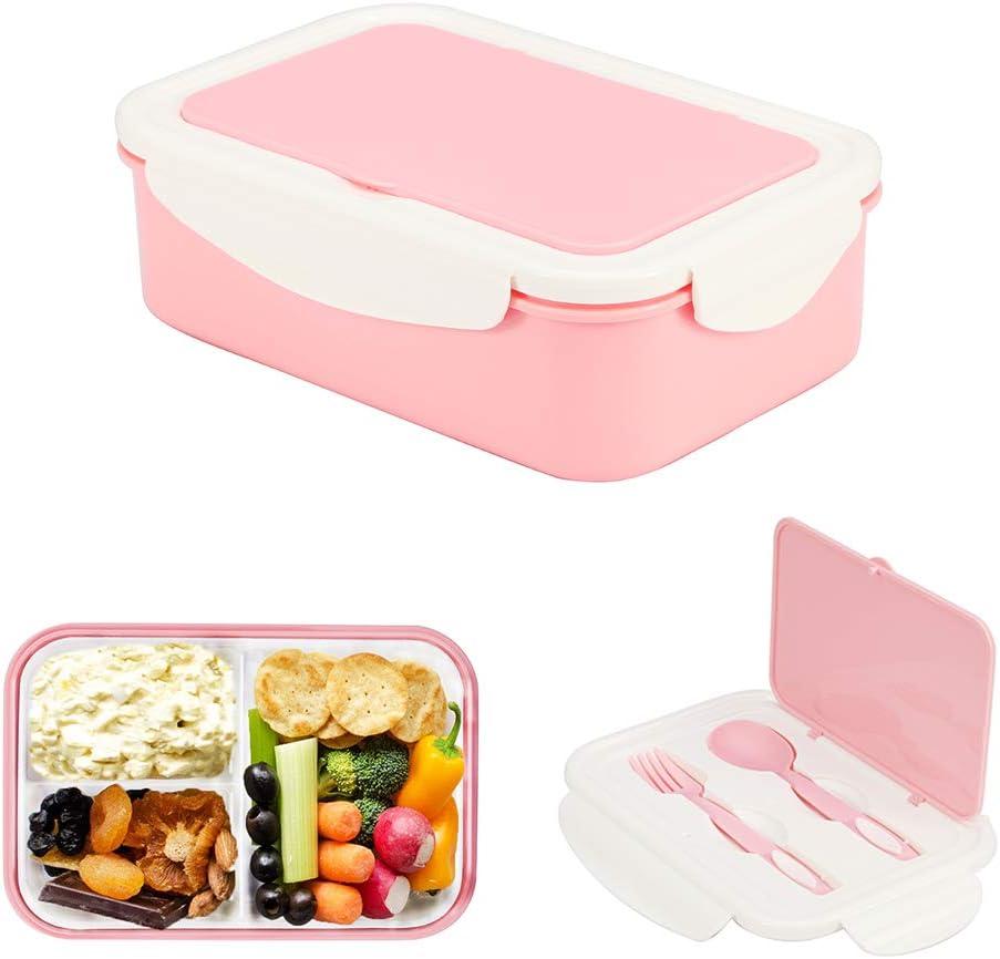 1050ml Caja de Almuerzo de Plástico Rosa, Caja de Bento con 3 Compartimentos y Cubiertos (Tenedor y Cuchara), Fiambreras Caja de Alimentos Ideal para Almuerzo y Bocadillos para Niños y Adultos: Amazon.es: