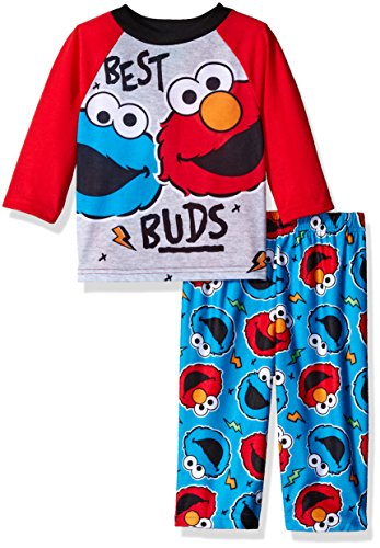 Sesame Street Boys' 2-Piece Pajama Set, Red, 12 Months