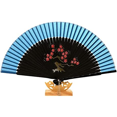 Blue Gift Bag And For Gift Silk Bamboo Cherry Blossom Design Party Dance Folding Hand Fan
