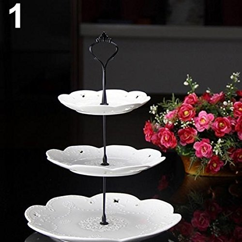 (HEART SPEAKER 3 Tier Hardware Crown Cake Plate Stand Handle Fitting Wedding Party Table Decor (Black))
