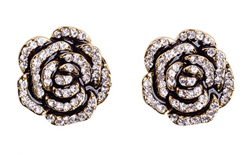 MISASHA Camellia Black Flower Celebrity Designer Earrings For Women ()