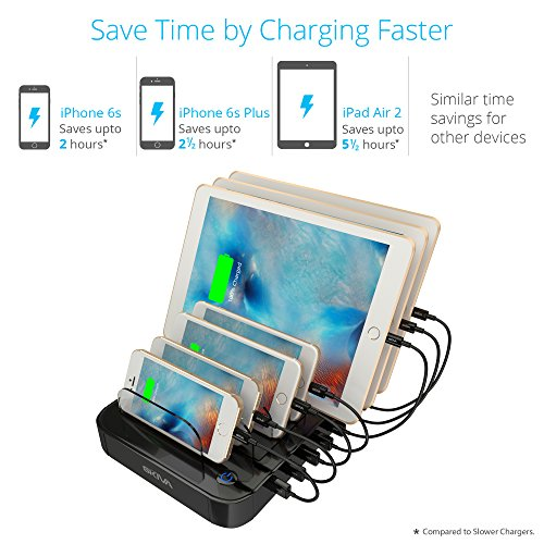 [2-Pack] Skiva StandCharger 7-Port 84W Charging Station with 2.4A Smart Rapid USB Ports for iPad, iPhone & more (Includes: '14 x Short Apple MFi Lightning Cables' and '2 X StandCharger') [Model:AC129] by SKIVA (Image #5)