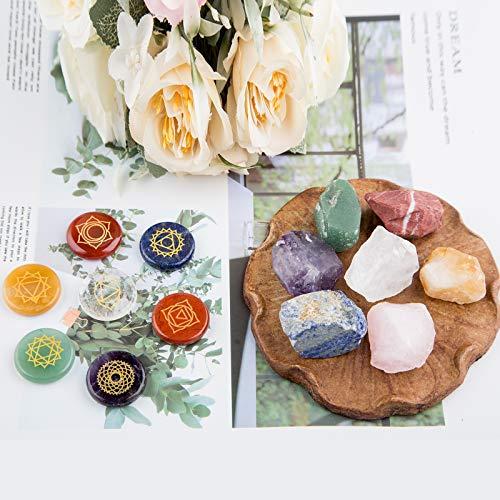Chakra Stones,Natural Reiki Healing Crystal Chakra Stone Set Includes 7 Engraved Chakras,7 Chakra Raw Stones,Used for Yoga, Meditation, Zen, Aura Cleansing,Chakra Balance (7pcs-7pcs Raw Stones)