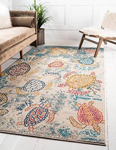 Unique Loom Positano Collection Coastal Modern Turtles Beige Area Rug (8' x 10') (5x8 Tropical Rugs Area)