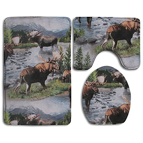 Bull Moose Nature Scenic Wildlife Animals Lake 3-Piece Soft Bath Rug Set Includes Bathroom Mat Contour Rug Lid Toilet Cover Home Decorative Doormat - Moose Bath Rug