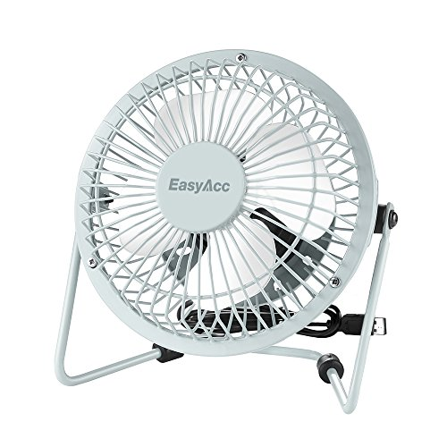 (EasyAcc 4 Inch USB Fan Mini Desktop Fan Metal Blades Cooling Fan Personal Portable Fan with 360 Rotation and Adjustable Angle for Laptop Notebook Tablet PC - White)
