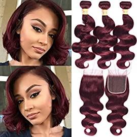 Wome Hair Body Wave Hair Bundles and Closure Bazilian Virgin Human Hair Body Wave Human Hair Weave Weft Extensions