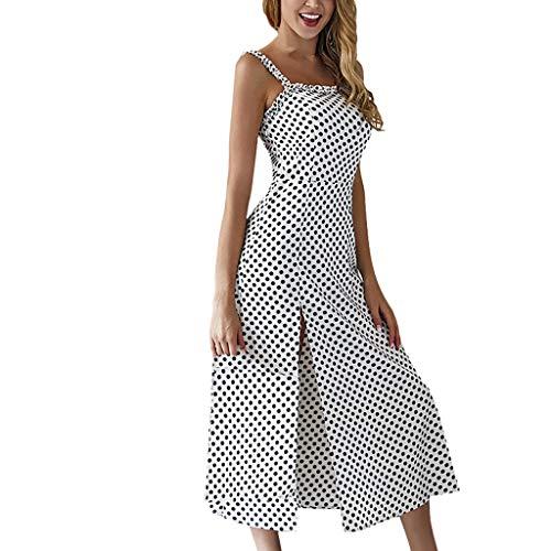 Toponly Beach Camisole Midi Dresses For Women V-Neck Polka Dot Print Tank Dress Spaghetti Strap Boho Sundress -