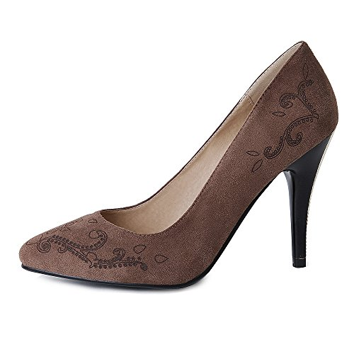 Heel Fashion High Women TAOFFEN Brown 5 Pumps 1gqRwnZ