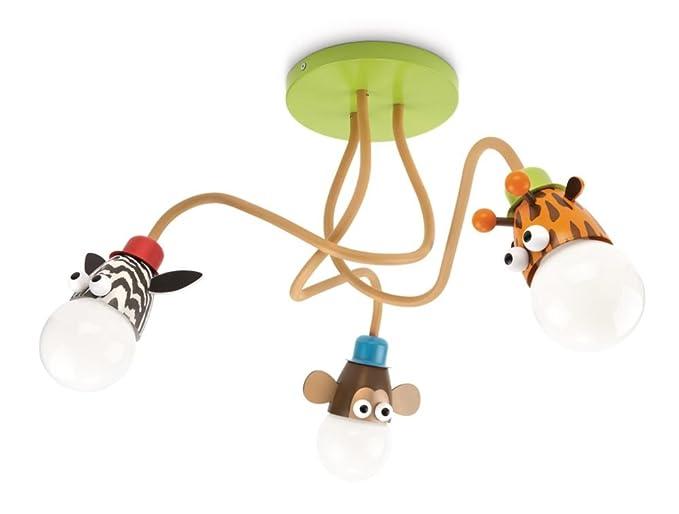 Philips mykidsroom zoo childrens ceiling light multi colour includes 3 x 12 watts e27 bulb