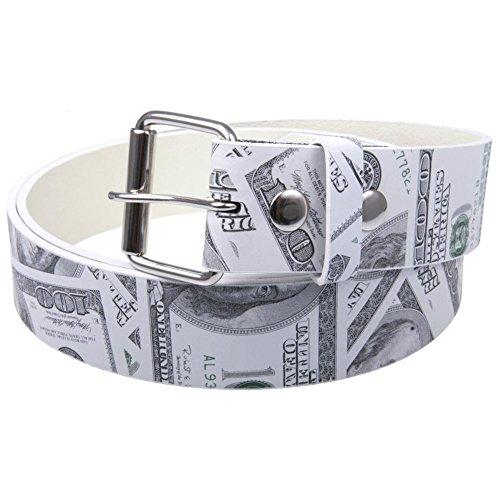 Old Glory - Mens Hundred Dollar Bill Leather Belt Small White