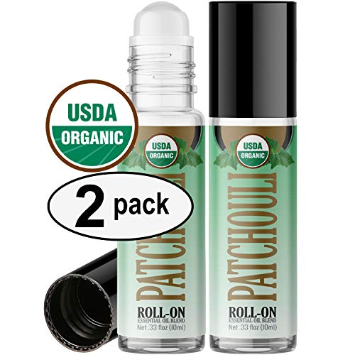- Organic Patchouli Roll On Essential Oil Rollerball (2 Pack - USDA Certified Organic) Pre-diluted with Glass Roller Ball for Aromatherapy, Kids, Children, Adults Topical Skin Application - 10ml Bottle
