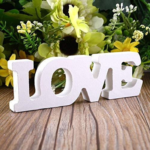 ZANAN Figurines & Miniatures - Wooden Letter Free Standing Decoration Weeding Party Decor Love Theme Miniature Letras De Madera Home Decoration Accessories 1 PCs