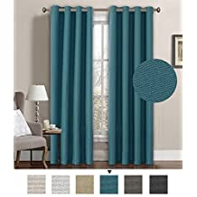H.Versailtex Primitive Linen Look Room Darkening Thermal Insulated Living room Curtains/Drapes Antique Grommet Window Panel, 52 by 84 Inch-Teal Blue (1 Panel)